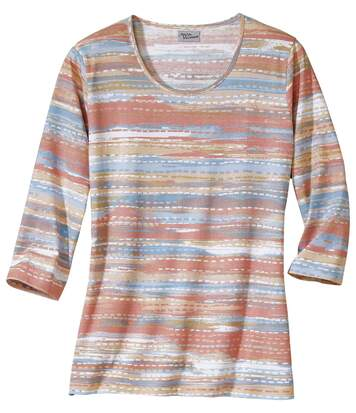 Women's Pink and Blue Patterned Printed Top