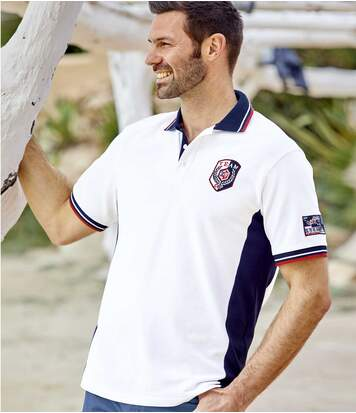 Men's Rugby-Style Polo Shirt - White Navy