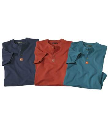 Pack of 3 Men's Classic Autumn T-Shirts - Navy Blue Brick