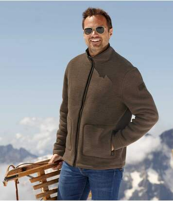 Men's Brown Sherpa-Lined Fleece Jacket - Full Zip
