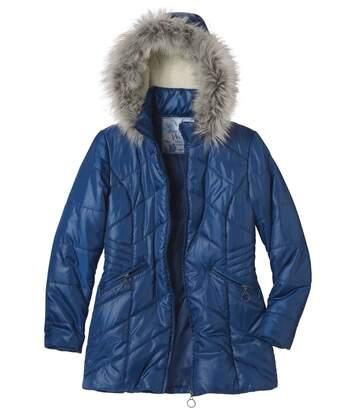 Irizáló kabát műszőrme kapucnival