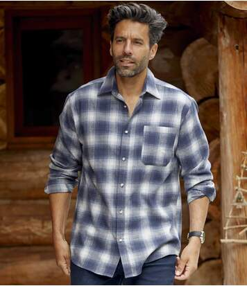 Men's Blue Checked Flannel Shirt
