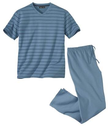 Men's Blue Striped Pyjama Set