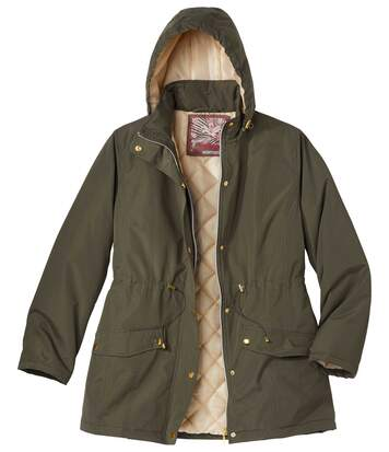 Women's Microtech Quilted Parka Jacket - Khaki