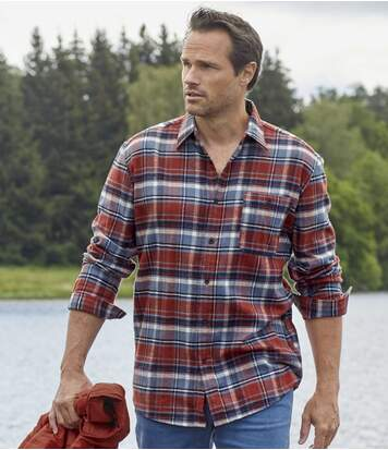 Men's Classic Checked Flannel Shirt - Red Navy
