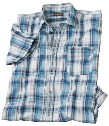 Bavlněná košile s krepovým efektem Blue Lagoon