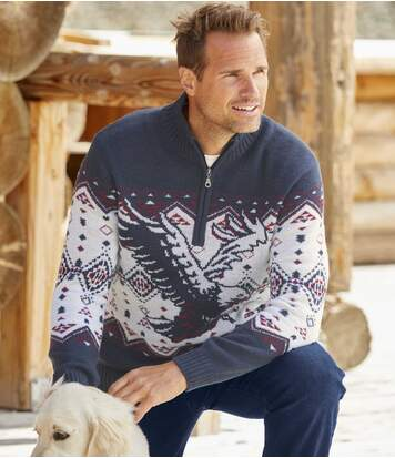 Jacquard-Pullover Snow Exploration mit Troyerkrage