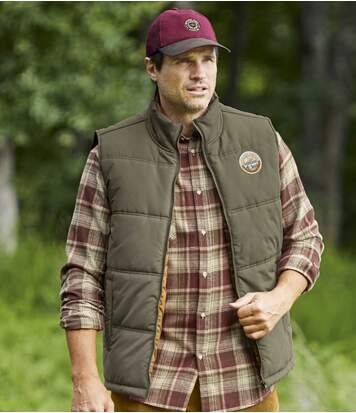 Men's Taupe Water-Repellent Padded Gilet - Full Zip