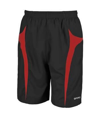 Spiro Mens Micro-Team Sports Shorts (Black/Red) - UTRW1478