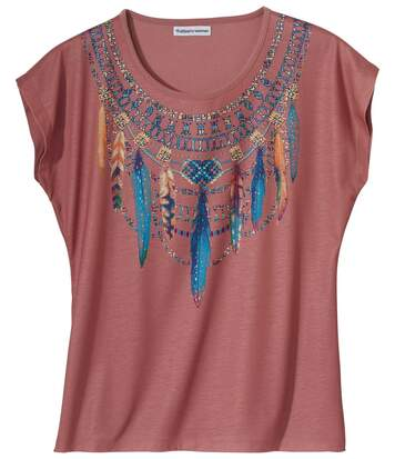 Women's Pink T-Shirt - Necklace Print