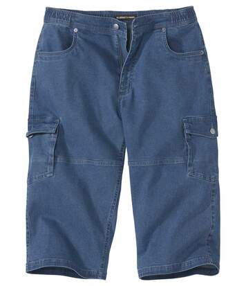 Men's Cropped Denim Cargo Trousers - Blue