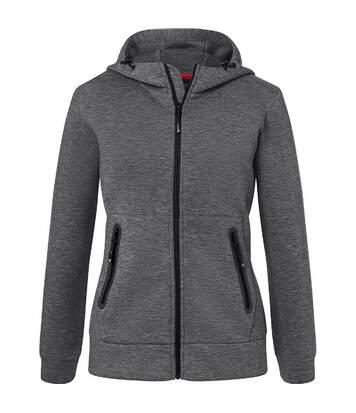 Veste zippée à capuche - Femme - JN1143 - gris foncé chiné