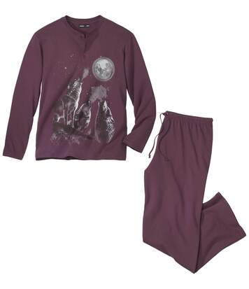 Men's Long-Sleeved Wolf Print Pyjamas - Burgundy