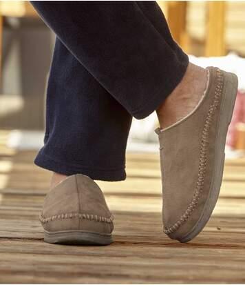 Suèdine pantoffels met sherpavoering