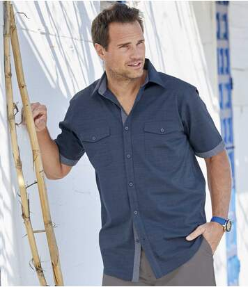 Men's Navy Slub Cotton Shirt
