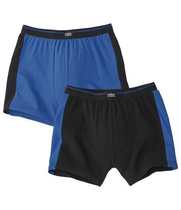 Pack of 2 Men's Stretch Boxer Shorts - Black Blue