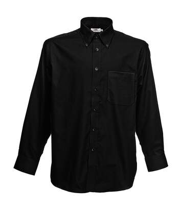 Fruit Of The Loom Mens Long Sleeve Oxford Shirt (Black) - UTBC403