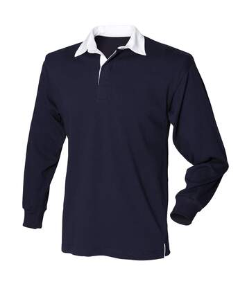 Front Row Mens Long Sleeve Sports Rugby Shirt (Navy) - UTRW473