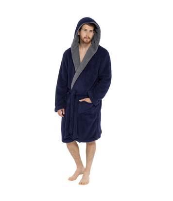 Foxbury Mens Shaggy Fleece Robe (Navy) - UTUT508