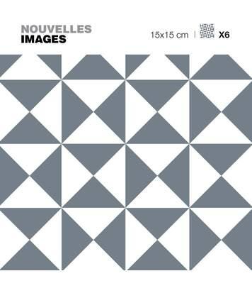 Stickers motif triangle illusion gris et blanc 15 x 15 cm (Lot de 6)