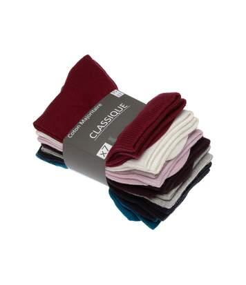 Chaussette Mi-Hautes - Lot de 7 - Sans bouclette - Fine - Coton - Multicolore