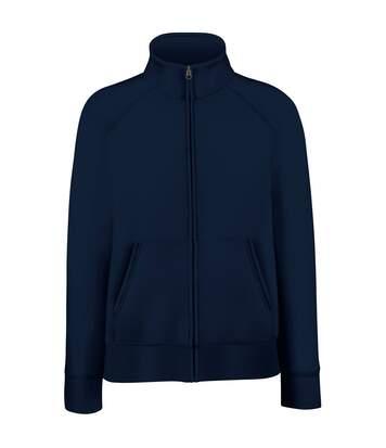 Fruit Of The Loom Ladies/Womens Lady-Fit Fleece Sweatshirt Jacket (Deep Navy) - UTBC1371