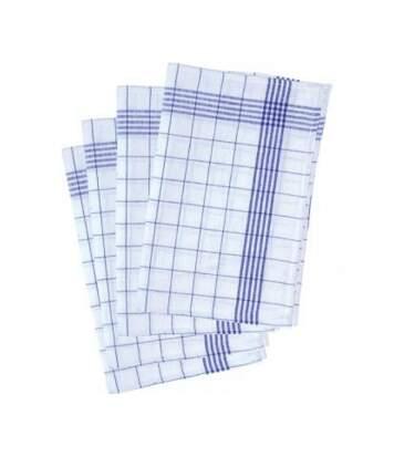 Lot 10 torchons de vaisselle coton - GT 16-6 - bleu et blanc