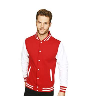 Casual Classic Mens Varsity Jacket (Red/White) - UTAB454