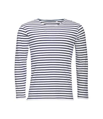 SOLS Mens Marine Long Sleeve Stripe T-Shirt (White/Navy) - UTPC2579