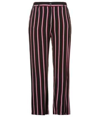 ULLA POPKEN Trousers Rose rayé jambe fuselée ceinture confort noir NEW