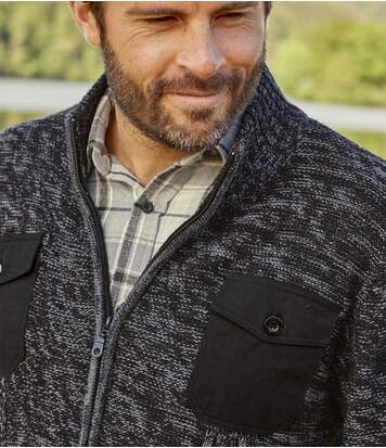 Men's Black Winter Valley Knitted Jacket