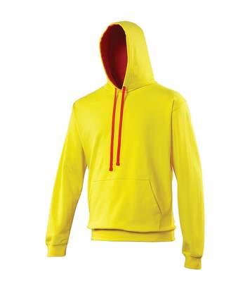 Awdis Varsity Hooded Sweatshirt / Hoodie (Purple / Sun Yellow) - UTRW165