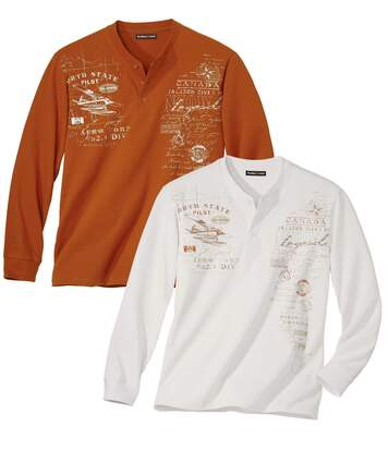 Pack of 2 Men's Casual Printed Tops - Orange Off-White