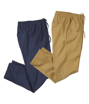 Pack of 2 Men's Casual Stretch Trousers - Navy Ochre