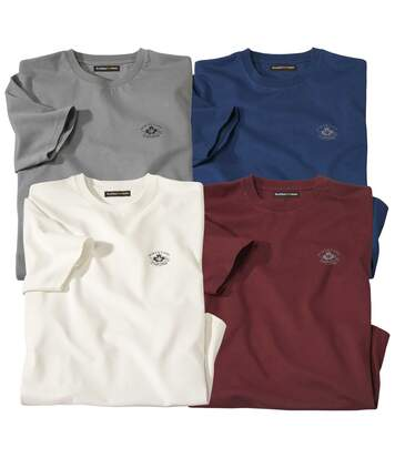 Pack of 4 Men's Canada T-Shirts - Ecru Blue Grey Burgundy