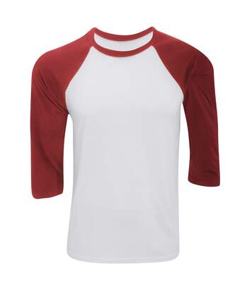 Canvas Mens 3/4 Sleeve Baseball T-Shirt (White/Red) - UTBC1332