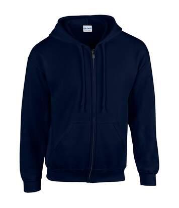 Gildan Heavy Blend Unisex Adult Full Zip Hooded Sweatshirt Top (Navy) - UTBC471