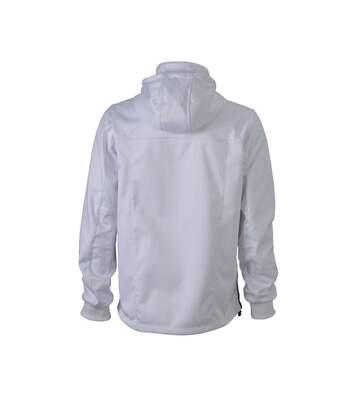 Veste softshell à capuche - homme JN1078 - blanc - coupe-vent imperméable
