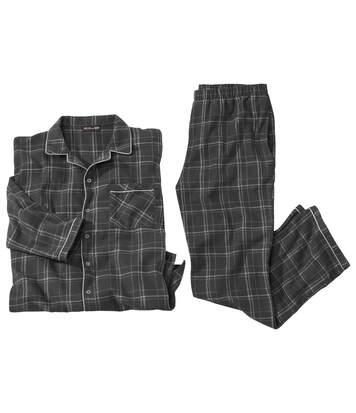 Pyjama Flanelle à Carreaux Gris