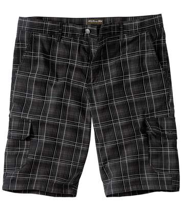 Men's Checked Cargo Shorts - Anthracite