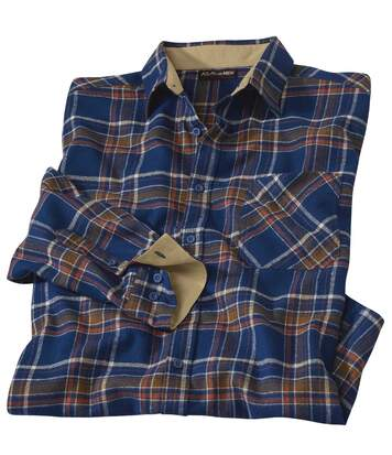 Men's Navy Checked Flannel Shirt