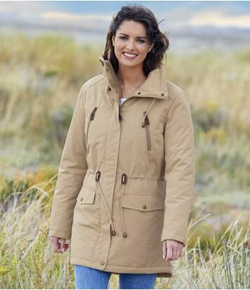 Women's Beige Multi-Pocket Parka Jacket