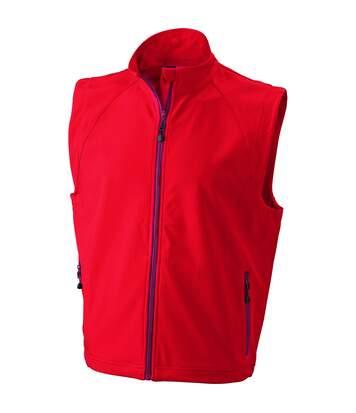 Gilet sans manches softshell coupe-vent imperméable - JN1022 - rouge - homme
