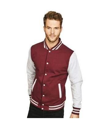 Casual Classic Mens Varsity Jacket (Burgundy/Sport Grey) - UTAB454