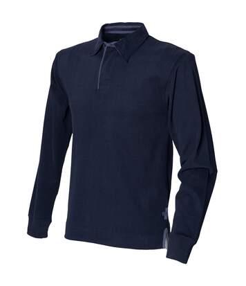 Front Row - Polo De Rugby À Manches Longues 100% Coton - Homme (Bleu marine) - UTRW491