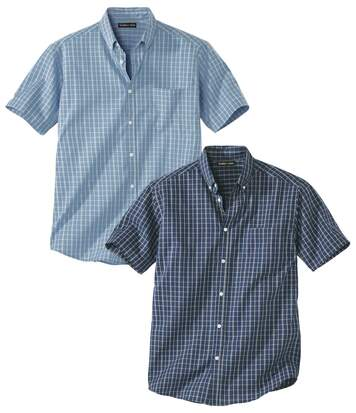 Pack of 2 Men's Checked Shirts - Navy Blue