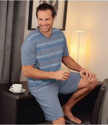 Men's Blue Summer Short Pyjama Set