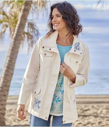 Women's Full Zip Embroidered Safari Jacket - Oatmeal