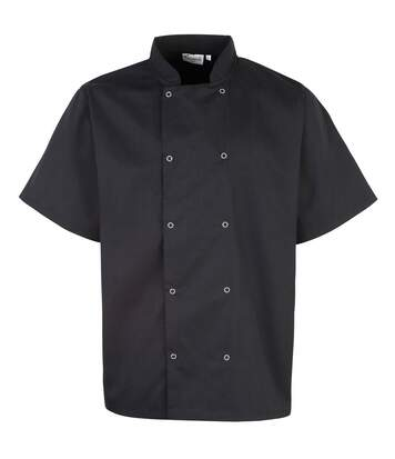 Premier Unisex Studded Front Short Sleeve Chefs Jacket (Black) - UTRW1125