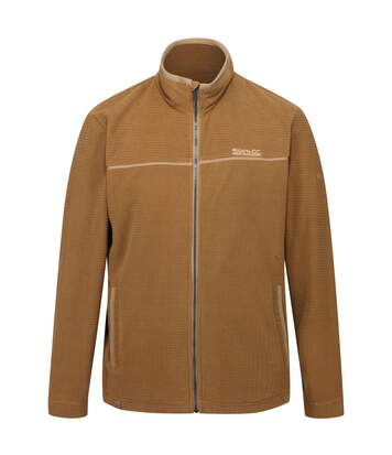 Regatta Mens Earvin Full Zip Broken Stripe Fleece (Dark Camel) - UTRG4596